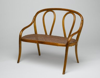 Gebrüder Thonet. Settee for Dolls, mid 1880's. Copper beech, modern caning, 12 1/4 x 14 1/4 x 9 1/4 in. (31.1 x 36.2 x 23.5 cm). Brooklyn Museum, Gift of Dr. Barry R. Harwood, 84.277. Creative Commons-BY