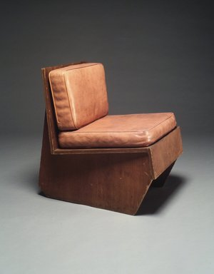 Frank Lloyd Wright (American, 1867-1959). Chair, ca. 1940. Laminated plywood, vinyl, 28 x 21 x 28 in. (71.1 x 53.3 x 71.1 cm). Brooklyn Museum, Gift of I. Wistar Morris, III, 84.279a-c. Creative Commons-BY