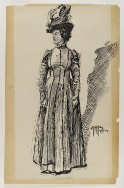 Edward Hopper (American, 1882-1967). Standing Female Figure, 1900. Black ink and graphite on thick, smooth, beige colored wove paper, Sheet: 22 9/16 x 14 5/16 in. (57.3 x 36.4 cm). Brooklyn Museum, Gift of Mr. and Mrs. Morton Ostrow, 84.306.6