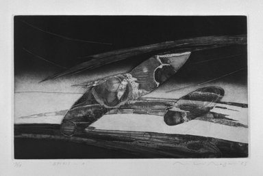 Miki Nagano. Spirit-A, 1983. Aquatint on paper, sheet: 15 1/16 x 20 1/8 in. (38.3 x 51.1 cm). Brooklyn Museum, Gift of the Printmaking Workshop in honor of Una E. Johnson, 84.307.8. © Miki Nagano