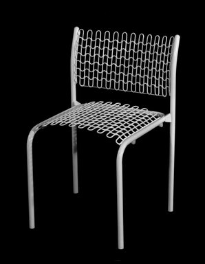 """David Rowland (American, born 1924). """"Sof-Tech"""" Side Chair, ca. 1979. Tubular steel, plastic-coated springs, 29 7/8 x 19 1/2 x 16 7/8 in. (75.9 x 49.5 x 42.9 cm). Brooklyn Museum, Gift of Thonet, 84.33.2. Creative Commons-BY"""