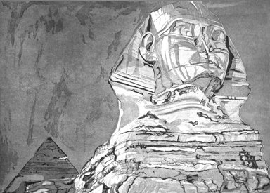 Philip Pearlstein (American, born 1924). The Sphinx. (A series of 22 trial proofs leading to final state), 1978-1979. Etching, aquatint, roulette on Arches paper, 30 3/16 x 40 3/16 in. (76.6 x 102.1 cm). Brooklyn Museum, Gift of Martin Meltzer, 84.42.3. © Philip Pearlstein