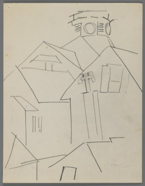 William Zorach (American, born Lithuania, 1887-1966). Lighthouse in Provincetown, 1918. Graphite on paper, Sheet: 10 15/16 x 8 1/2 in. (27.8 x 21.6 cm). Brooklyn Museum, Gift of William Bloom, 84.46.7