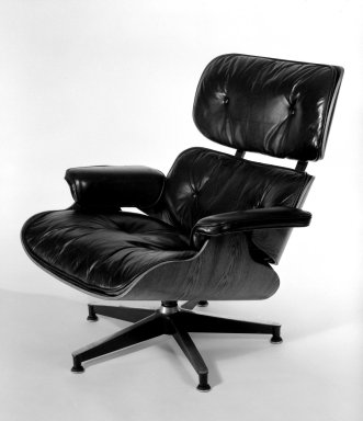 Charles Eames (American, 1907-1978). Armchair, Model 670, Designed 1956; Manufactured mid-1960s. Rosewood, leather, aluminum, 32 1/2 x 33 x 35 in. (82.6 x 83.8 x 88.9 cm). Brooklyn Museum, Gift of Alice Topp Lee in memory of David Conant Ford, 84.65.1. Creative Commons-BY