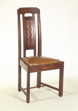 Charles Sumner Greene (American, 1868-1957). Side Chair, ca. 1907. Honduras mahogany, ebony, with inlay of silver, abalone, copper, pewter, and exotic woods, 43 1/2 x 21 1/2 x 19 1/2 in. (110.5 x 54.5 x 49.5 cm). Brooklyn Museum, Designated Purchase Fund, 84.66. Creative Commons-BY