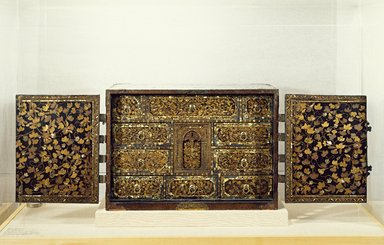 Export Portable Desk (Bargueño), Late 16th century to early 17th century. Lacquer with gold flecks, mother-of-pearl inlay, metal fittings, 17 5/16 x 24 7/8 x 13 9/16 x 24 1/2 in. (44 x 63.2 x 34.5 x 62.2 cm). Brooklyn Museum, Gift of Dr. and Mrs. John P. Lyden, 84.69.1. Creative Commons-BY
