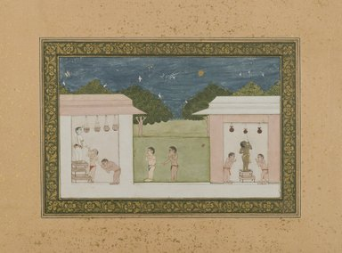 Krishna Stealing Curds, ca.1775. Opaque watercolors and gold on paper, 5 1/4 x 8 3/8 in. (13.4 x 21.2 cm). Brooklyn Museum, Gift of Dr. and Mrs. James R. Miller, 84.71