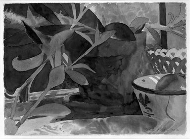 David Rohn (American, born 1934). Plant, Bowl, Mirror, 1983. Watercolor on paper, Sheet: 22 1/8 x 30 1/2 in. (56.2 x 77.5 cm). Brooklyn Museum, Gift of Wolf Kahn, 84.79. © David Rohen
