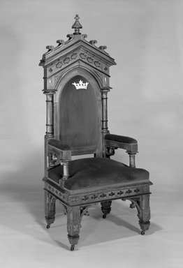 Chair, ca. 1870. Walnut, upholstery, 69 x 29 x 23in. (175.3 x 73.7 x 58.4cm). Brooklyn Museum, Bequest of Edmund C. Morton, 85.107. Creative Commons-BY