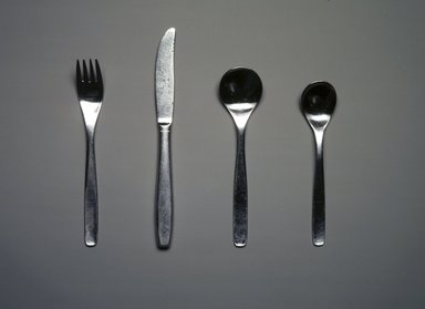Russel Wright (American, 1904-1976). Four-Piece Flatware Setting, ca. 1950-1958. Stainless steel, Fork (a): 1 1/8 x 1 x 7 3/16 in. (2.9 x 2.5 x 18.3 cm). Brooklyn Museum, Gift of Paul F. Walter, 85.109.1a-d. Creative Commons-BY