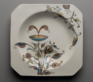 Christopher Dresser (English, 1834-1904). Soup Plate, Persia Pattern, ca. 1886. Glazed earthenware, 1 1/4 x 8 7/8 x 8 7/8 in. (3.2 x 22.5 x 22.5 cm). Brooklyn Museum, Designated Purchase Fund, 85.112.2. Creative Commons-BY