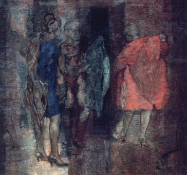 Isabel Bishop (American, 1902-1988). The Coats, 1967. Oil, tempera and graphite on canvas, 39 x 41 in. (99.1 x 104.1 cm). Brooklyn Museum, Gift of Mr. and Mrs. Robert E. Blum, 85.117. © Estate of Isabel Bishop