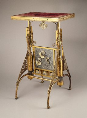 The Charles Parker Company. Table, ca. 1880. Brass, other metals, wood, fabric, 29 x 19 x 17 1/2 in. (73.7 x 48.3 x 44.5 cm). Brooklyn Museum, H. Randolph Lever Fund, 85.12.1. Creative Commons-BY