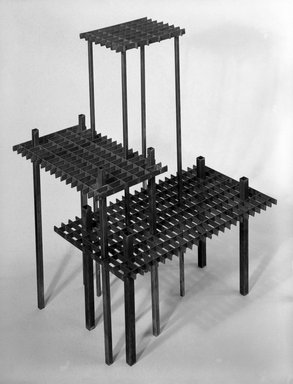David Zelman. Interlocking Occasional Table, ca. 1985. Steel, 18 x 27 1/2 x 16 in. (45.7 x 69.9 x 40.6 cm). Brooklyn Museum, Gift of Norma Duell, 85.152.3. Creative Commons-BY