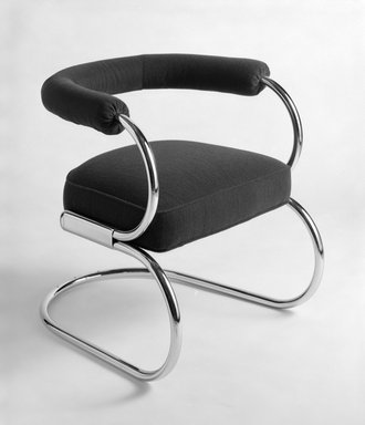 """Nathan George Horwitt (American, 1898-1990). """"Beta"""" Chair, 1930. Tubular steel, wood, upholstery, 26 x 22 7/8 x 27 1/2 in. (66 x 58.1 x 69.9 cm). Brooklyn Museum, Gift of the artist , 85.155. Creative Commons-BY"""