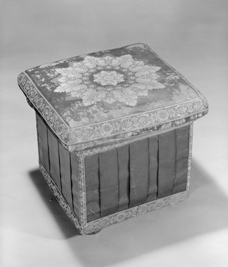 One of a Set of Three Hassocks or Stools (en suite with 85.156.4 Ottoman) Neo-Classical style, ca. 1830. White pine, original silk upholstery, 18 x 18 x 18 in. (45.7 x 45.7 x 45.7 cm). Brooklyn Museum, Gift of Richard H. Howland, 85.156.2. Creative Commons-BY