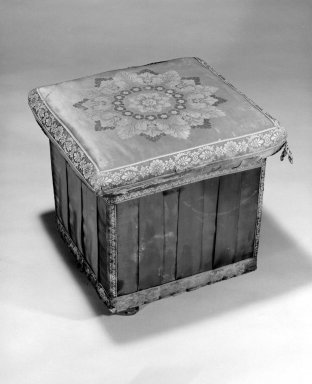 One of a Set of Three Hassocks or Stools (en suite with 85.156.4 Ottoman) Neo-Classical style, ca. 1830. White pine, original silk upholstery, 18 x 18 x 18 in. (45.7 x 45.7 x 45.7 cm). Brooklyn Museum, Gift of Richard H. Howland, 85.156.3. Creative Commons-BY