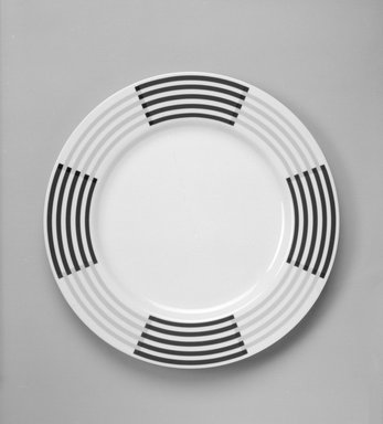 "Richard Meier (born 1934). Buffet Plate, ""Anna"" Pattern, ca. 1985. Porcelain, 1 1/8 x 12 1/8 x 12 1/8 in. (2.9 x 30.8 x 30.8 cm). Brooklyn Museum, Gift of Paul F. Walter, 85.158.17. Creative Commons-BY"