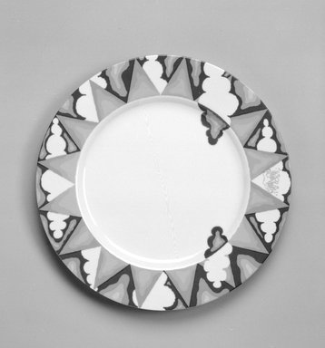 "Stanley Tigerman. Buffet Plate, ""Sunshine"" Pattern, ca. 1985. Porcelain, 1 x 12 1/8 x 12 1/8 in. (2.5 x 30.8 x 30.8 cm). Brooklyn Museum, Gift of Paul F. Walter, 85.158.18. Creative Commons-BY"