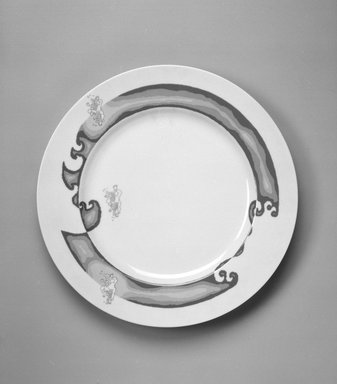 "Stanley Tigerman. Buffet Plate, ""Heaven"" Pattern, ca. 1985. Porcelain, 1 1/8 x 12 x 12 in. (2.9 x 30.5 x 30.5 cm). Brooklyn Museum, Gift of Paul F. Walter, 85.158.20. Creative Commons-BY"