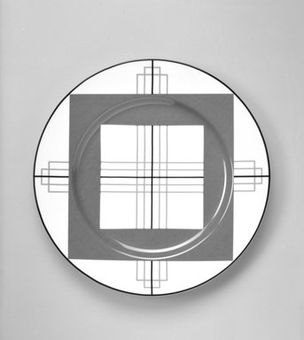 "Richard Meier (born 1934). Buffet Plate, ""Joseph"" Pattern, ca. 1985. Porcelain, 1 1/4 x 12 1/8 x 12 1/8 in. (3.2 x 30.8 x 30.8 cm). Brooklyn Museum, Gift of Paul F. Walter, 85.158.23. Creative Commons-BY"