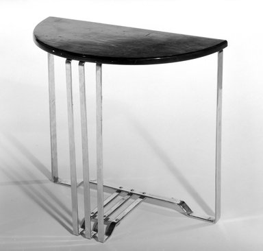 Alfons Back. Table, One of Pair, 1937. Chromed steel, wood, 21 1/8 x 25 1/4 x 12 1/2 in. (53.7 x 64.1 x 31.8 cm). Brooklyn Museum, H. Randolph Lever Fund, 85.159.4. Creative Commons-BY
