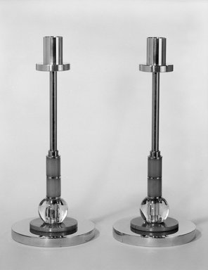 M. Goldsmith Company. Candlestick, One of Pair, ca. 1930s. Chrome-plated metal, plastic, 10 x 4 1/4 x 4 1/4 in. (25.4 x 10.8 x 10.8 cm). Brooklyn Museum, H. Randolph Lever Fund, 85.163.1. Creative Commons-BY