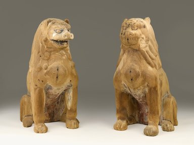 Koma-Inu (Mouth Closed); One of Pair, Early 13th century. Hinoki (cypress wood) with traces of polychrome, 21 x 11 1/4 in. (53.3 x 28.6 cm). Brooklyn Museum, Purchased with funds given by Mr. and Mrs. Milton F. Rosenthal and Dr. and Mrs. Robert Feinberg, A. Augustus Healy Fund, Frank L. Babbott Fund, and Designated Purchase Fund, 85.171.2. Creative Commons-BY