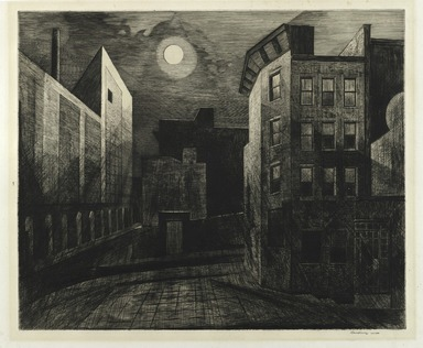 Armin Landeck (American, 1905-1984). Manhattan Moonlight, 1947. Drypoint and engraving, Sheet: 15 15/16 x 18 1/2 in. (40.5 x 47 cm). Brooklyn Museum, Gift of IBM Gallery of Science and Art, 85.187.28. © Estate of Armin Landeck