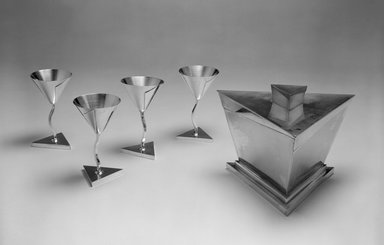 Elsa Tennhardt (American, born Germany, 1899-1980). Stem Glass, Part of Five-piece Set, Patented 1928. Silver-plated brass, 4 7/8 x 2 3/4 x 2 3/4 in. (12.4 x 7 x 7 cm). Brooklyn Museum, Designated Purchase Fund, 85.213.6. Creative Commons-BY
