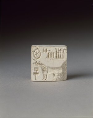 Seal with Unicorn, 2500-2000 B.C.E. Steatite, 15/16 x 15/16 in. (2.4 x 2.4 cm). Brooklyn Museum, Gift of Georgia and Michael de Havenon, 85.215.1. Creative Commons-BY