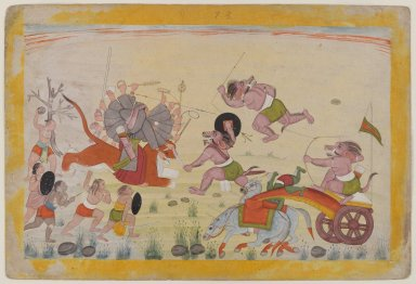 Indian. Mahasura Attacks the Devi, Folio from a Dispersed Devi Mahatmya Series, ca. 1770-1780. Opaque watercolor on paper, sheet: 7 7/8 x 11 5/8 in.  (20.0 x 29.5 cm). Brooklyn Museum, Gift of Mr. and Mrs. Robert L. Poster, 85.220.2