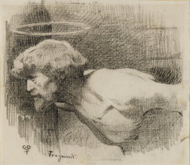 "Charles Sprague Pearce (American, 1851-1914). Study for ""The Beheading of St. John the Baptist,"" ca. 1881. Crayon on paper, sheet: 6 1/8 x 7 in. (15.6 x 17.8 cm). Brooklyn Museum, Gift of Sidney M. Katz, 85.243.2"