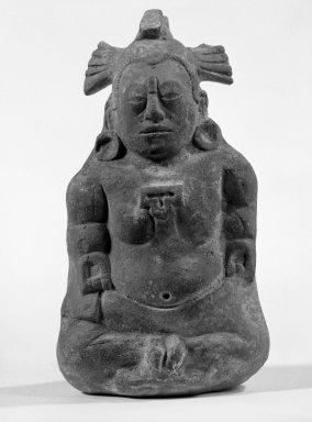 Maya. Seated Priest (Whistle), 300-900. Clay, pigment, 5 9/16 x 3 1/2 x 3 1/4 in. (14.1 x 8.9 x 8.3 cm). Brooklyn Museum, Gift of Frederic Zeller, 85.262.2. Creative Commons-BY
