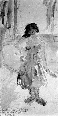 Beatrice Wood (American, 1894-1998). Portrait de la Petite Pecheuse de Francavilla d'Apres Recit, May 30, 1917. Watercolor over graphite on paper, sheet (irregular): 10 1/8 x 5 5/16 in. (25.7 x 13.5 cm). Brooklyn Museum, Gift of Francis N. Naumann, 85.271.3