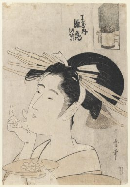 Kitagawa Utamaro (Japanese, 1753-1806). Midori of the Hinataka, from The Hour of the Rat, Early 19th cenutry. Woodblock print, ink and color on paper, 14 1/2 x 10 in. (36.8 x 25.4 cm). Brooklyn Museum, Gift of Herbert Libertson, 85.279