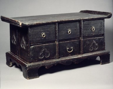 Sutra Table, early 20th century. Wood with brass fittings, 12 3/16 x 24 x 12 13/16 in. (31 x 61 x 32.5 cm). Brooklyn Museum, Gift of Dr. and Mrs. John P. Lyden, 85.281.2. Creative Commons-BY