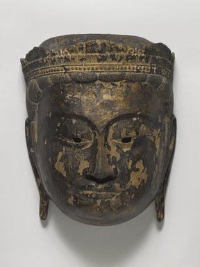 Buddhist Processional Mask of a Bodhisattva, 15th century. Carved wood, 10 x 8 in. (25.4 x 20.3 cm). Brooklyn Museum, Gift of Dr. and Mrs. John P. Lyden, 85.281.6. Creative Commons-BY