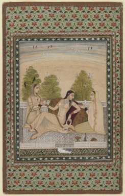 Indian. Woman on a Terrace, ca. 1775. Opaque watercolors and gold on paper, sheet: 13 3/4 x 8 5/8 in.  (34.9 x 21.9 cm). Brooklyn Museum, Gift of Mr. and Mrs. Peter P. Pessutti, 85.282.1