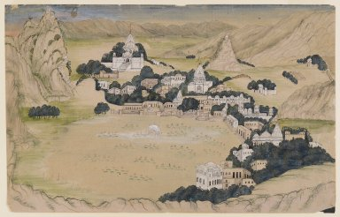 Possibly Kota. Pushkar Lake, ca. 1840-1860. Opaque watercolors and washes on paper, sheet: 7 7/8 x 12 1/8 in.  (20.0 x 30.8 cm). Brooklyn Museum, Gift of Mr. and Mrs. Peter P. Pessutti, 85.282.2
