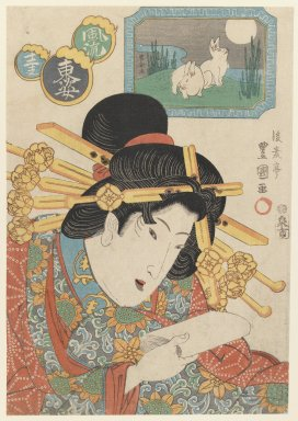 Gosotei Toyokuni II (Japanese, 1802-1835). Bust Portrait of a Courtesan, late 1820s. Woodblock print, 14 1/8 x 9 5/8 in. (35.9 x 24.4 cm). Brooklyn Museum, Gift of Mr. and Mrs. Peter P. Pessutti, 85.282.8