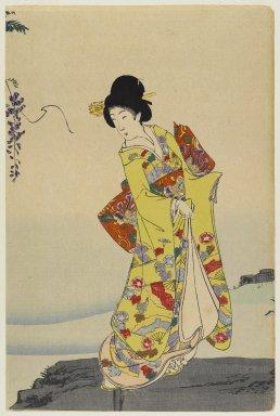 Toyohara Chikanobu (Japanese, 1838-1912). Courtesan and Three Carp, 1897. Woodblock print, R:14 x 9 3/8 in. (35.6 x 23.8 cm). Brooklyn Museum, Gift of Mr. and Mrs. Peter P. Pessutti, 85.282.9a-b