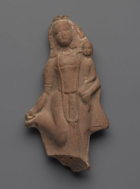 Plaque - Hariti and Child, ca. 1800. Molded terracotta plaque, 4 7/8 x 2 5/8 in. (12.4 x 6.7 cm). Brooklyn Museum, Gift of Dr. Bertram H. Schaffner, 85.283.1. Creative Commons-BY