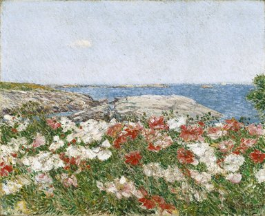 Frederick Childe Hassam (American, 1859-1935). Poppies on the Isles of Shoals, 1890. Oil on canvas, 18 x 21 15/16 in. (45.7 x 55.7 cm). Brooklyn Museum, Gift of Mary Pratt Barringer and Richardson Pratt, Jr. in memory of Richardson and Laura Pratt, 85.286