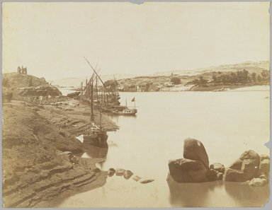 Antonio Beato (Italian and British, after 1832-1906). Aswan (View of the Nile from the East Bank), late 19th century. Albumen silver photograph, image/sheet: 7 3/4 x 10 1/4 in. (19.7 x 26 cm). Brooklyn Museum, Gift of Matthew Dontzin, 85.305.10