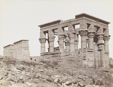 Antonio Beato (Italian and British, after 1832-1906). Philae (View of the southeast of the Kiosk of Trajan and the First Pylon of the Temple of Isis), late 19th century. Albumen silver photograph, image/sheet: 7 3/4 x 10 1/4 in. (19.7 x 26 cm). Brooklyn Museum, Gift of Matthew Dontzin, 85.305.14