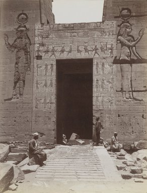 Antonio Beato (Italian and British, after 1832-1906). Philae (Close-up view from the south of the Second Pylon Entrance at the Temple of Isis), late 19th century. Albumen silver photograph, image/sheet: 7 3/4 x 10 1/4 in. (19.7 x 26 cm). Brooklyn Museum, Gift of Matthew Dontzin, 85.305.17