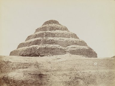 Antonio Beato (Italian and British, after 1832-1906). Pyramid at Saqqara (View from southeast of the Step Pyramid), 19th Century. Albumen silver photograph, image/sheet: 7 3/4 x 10 1/4 in. (19.7 x 26 cm). Brooklyn Museum, Gift of Matthew Dontzin, 85.305.1
