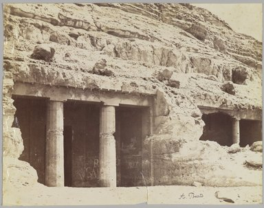 Antonio Beato (Italian and British, after 1832-1906). Tombs at Beni Hasan (View of the façade of the tombs of Khnum-hotep [no. 3] and Beni Hasan [no. 4]), late 19th century. Albumen silver photograph Brooklyn Museum, Gift of Matthew Dontzin, 85.305.6