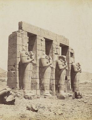 Antonio Beato (Italian and British, after 1832-1906). Ramesseum, Thebes (View of the southeast of the Second Court), late 19th century. Albumen silver photograph, image/sheet: 7 3/4 x 10 1/4 in. (19.7 x 26 cm). Brooklyn Museum, Gift of Matthew Dontzin, 85.305.7